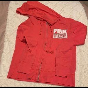 PINK Coral Hooded Full Zip Sweatshirt